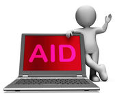 Aid And Character Laptop Shows Assisting Aiding Helping Or Relie — Stock Photo