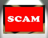 Scam Screen Shows Swindles Hoax Deceit And Fraud — Stock Photo