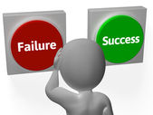 Failure Success Buttons Show Outcome Or Motivation — Stock Photo