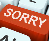 Sorry Key Shows Online Apology Or Regret — Stock Photo