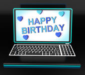 Gelukkige verjaardag groeten op computer toont internet viering — Stockfoto
