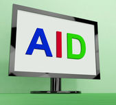 Aid On Monitor Shows Aiding Help Or Relief — Stock Photo