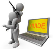 Guide Characters Laptop Shows Guiding Assistance Or Assist — Stock Photo