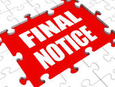 Final Notice Puzzle Shows Last Reminder Or Payment Overdue — Stock Photo