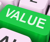 Value Key Shows Importance Or Significanc — Stock Photo