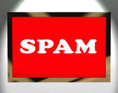 Spam Screen Showing Spamming Unwanted And Malicious Email — Stock Photo