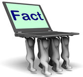 Fact Characters Laptop Shows Truth Facts And Knowledge — Stock Photo