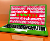 Addiction Laptop Means Obsession Craving And Attachment Onlin — Stock Photo