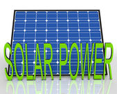 Solar Panel And Power Word Shows Energies Source — Stock Photo