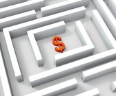Dollar Currency In Maze Shows Dollars Credit — Stock Photo