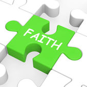 Faith Jigsaw Showing Spiritual Belief Or Trust — Stock Photo