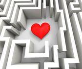 Suche nach liebe oder freundin zeigt herz im labyrinth — Stockfoto