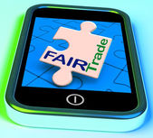 Fairtrade On Phone Shows Fair Trade Product Or Products — Stock Photo