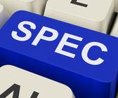 Spec Keys Show Specifications Details Or Design — Stock Photo