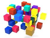 Exploding Blocks Shows Scattered Puzzle — Stock Photo
