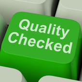 Quality Checked Key Shows Product Tested Ok — Stock Photo