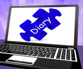 Diary Laptop Shows Web Planning Or Scheduling — Stock Photo