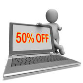 Fifty Percent Off Monitor Means Deduction Or Sale Online — Stock Photo