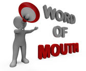 Word Of Mouth Character Shows Communication Networking Discussin — Stock Photo