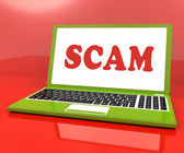 Scam Laptop Shows Scheming Hoax Deceit And Fraud Online — Stock Photo