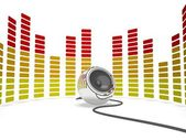 Graphic Equalizer And Speaker Shows Music Or Musical Audio — Stock Photo