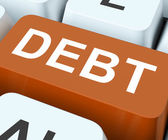 Debt Key Show Indebtedness Or Liabilitie — Stock Photo