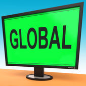 Global Monitor Shows Worldwide Continental Globalization Connect — Stock Photo