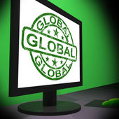 Global Monitor Shows Worldwide International Globalization Conne — Stock Photo