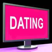 Online Dating Computer Shows Romance Date And Web Love — Stock Photo