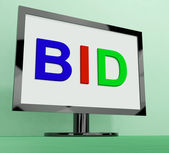 Bid On Monitor Shows Bidding Or Auction — Stock Photo