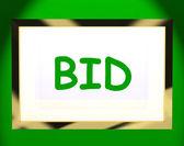 Bid On Screen Shows Bidding Bidder Or Auction — Stock Photo