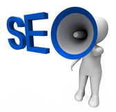 Seo Hailer Shows Search Engine Optimization Optimized On Web — Stock Photo