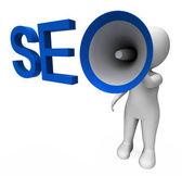 Seo Hailer Shows Search Engine Optimization Optimized On Web — Stock Photo