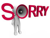 Sorry Hailer Shows Apology Apologize And Regret — Stock Photo