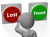 Lost Found Buttons Show Seeking Or Misplaced — Stock Photo