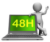 Forty Eight Hour Laptop Character Shows 48h Service Or Delivery — Stock Photo