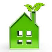 Eko dom pokazuje środowiska strona główna — Zdjęcie stockowe