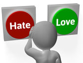 Hate Love Buttons Show Attitude Or Hatred — Stock Photo