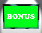Bonus On Screen Shows Reward Or Perk Online — Stock Photo