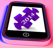 2014 On Smartphone Shows Forecasts For New Year — Stock Photo
