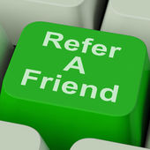 Refer A Friend Key Shows Suggest To Person — Stock Photo