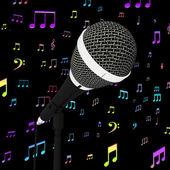 Closeup mikrofon s hudbou poznámky zobrazuje písní a hitů — Stock fotografie