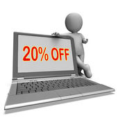 Twenty Percent Off Monitor Means Deduction Or Sale Online — Stock Photo