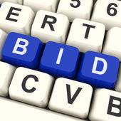 Bid Keys Show Online Bidding Or Auction — Stock Photo