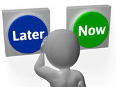 Later Now Buttons Show Wasting Time Or Procastination — Stock Photo