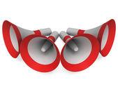 Megafony pokazuje ogłasza zapowiedź emisji lub głośniki — Zdjęcie stockowe