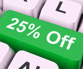 Twenty Five Percent Off Key Means Discount Or Sal — Stock Photo