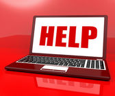 Help On Laptop Shows Customer Service Helpdesk Or Support — Stock Photo