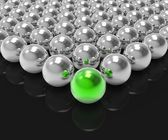 Leading Metallic Ball Shows Leadership Or Winning — Stock Photo