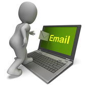 Email Character On Laptop Shows Contact Mailing Or Correspondenc — Stock Photo